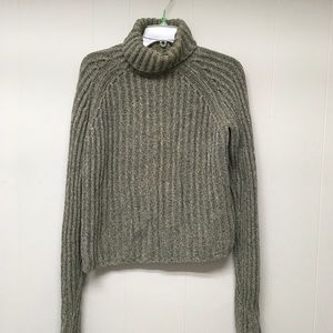 J Crew Sweater L Gray Rib Knit Turtleneck Cotton